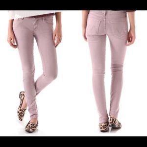 Mother the looker pastel pink skinny jeans
